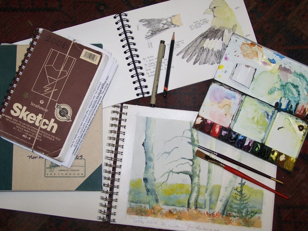 sketchbooks and paint